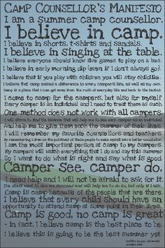 Camp Counsellor Manifesto Poster Sample