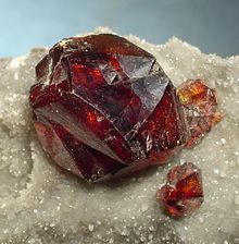 Sphalerite - Gem quality twinned cherry-red sphalerite crystal (1.8 cm) from Hunan Province, China