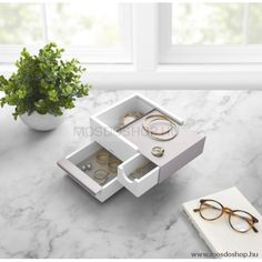 Designed by Sung Wppk Park for Umbra this modern wood and metal box with sliding drawers is perfectly suited to storing all your jewellery and Jewellery Storage, Jewelry Organization, Organization Ideas, Hidden Compartments, Drawer Organisers, Hidden Storage, Last Minute Gifts, At Home Store, Other Accessories