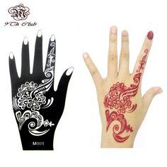 Henna Hand Tattoo Stencil,Flower Glitter Airbrush Mehndi Henna Tattoo Large Templates Stencils For Body Paint