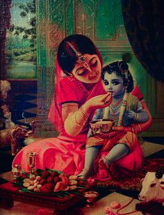 Yashoda feeds Bal Krsna.    Within bhaktimarg we become greater than god in the sense we bind him with our love, we become the care takers for god, we feed him and nurture the Lord in His childlike form.  Birajo hari, jamajo laalji thaal.