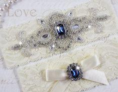 Best Seller - CHLOE II - Sapphire Blue Wedding Garter Set, Wedding Lace Garter, Rhinestone Bridal Garters, Something Blue Sapphire Blue Weddings, Blue Sapphire, Sapphire Pendant, Dream Wedding, Wedding Day, Bling Wedding, Something Blue Wedding, Lace Garter, Garter Belts