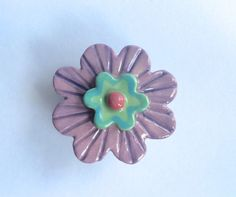 Lavender and Mint Summer Flower Knob Drawer by PeachBlossomStudio