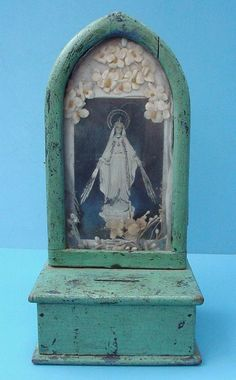 Antique Mexico Blue Painted Prayer Offering Box Altar Virgin Mary Shrine Icon
