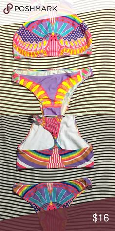 Cool swimsuit ❕❕ Never used. NWT. Small size. Perfect condition. Pretty colors. Free gift  with bundle❕ Swim Bikinis