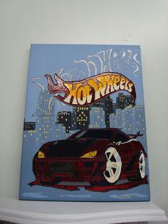 Toile fait avec de la peinture acrylique et j'ai ajouté sur l'auto et les lettres de la peinture a vitraux Pébéo