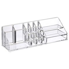 "Acrylic Vertical Cosmetic Organizer Clear 12"" x 3-1/2"" x 3-1/2"" h (Container Store)"
