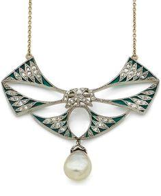 Henri Vever - An Art Deco platinum, plique-à-jour enamel, pearl and diamond pendant, early 20th century. Signed Vever Paris. Lengh approximately 4.7cm. #HenriVever #ArtDeco #pendant