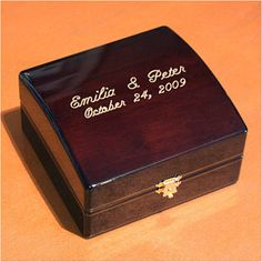 WeddingDepot.com ~ Ring Bearer Box - Presentation ~ Just imagine your ring bearer walking down the aisle with this stunning box. Your guests will admire the true beauty of this square wooden box as a unique presentation of your rings.