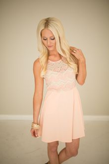 Lace Top Flare Dress- Peach