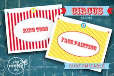 """INSTANT DOWNLOAD CIRCUS SIGN PRINTABLES—CUSTOMIZABLE! Circus party printables to make your own customized circus or carnival party signs! Use these CUSTOMIZABLE circus party signs to make signs for your carnival party games and food table—customize with messages like """"ring toss"""", """"popcorn"""", """"cotton candy"""", """"face painting"""", or anything you would like! Easy DIY customization—simply click and type to add your own circus text. Print as many different signs as you wish! Carnival Party Games, Carnival Party Favors, Carnival Signs, Circus Party Decorations, Carnival Birthday Parties, Carnival Themes, Circus Birthday, 1st Boy Birthday, Turtle Birthday"""