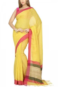 Yellow & Pink Hand Woven Linen Cotton Saree