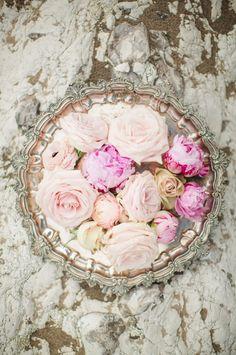 Garden roses in vintage silver bowl.  Be still my heart!