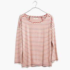 A soft sweatshirt-style top in yarn-dyed stripes, this long-sleeve tee pairs cool top-stitched seams with an easy fit. <ul><li>Classic fit.</li><li>Cotton.</li><li>Machine wash.</li><li>Import.</li></ul>