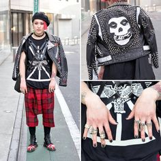 21-year-old Ryo on the street in Harajuku wearing a leather jacket that he customized himself over a BOY London t-shirt, Comme Des Garcons plaid pants, Dr. Martens boots, and rings by Chrome Hearts and Vivienne Westwood.