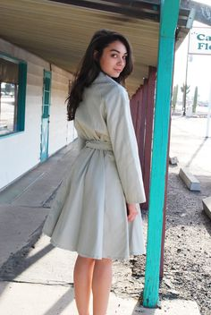 Vintage Flared Trench Coat 60s Pale Gray Fitted TrenchCoat Jacket S M. $68.00, via Etsy.