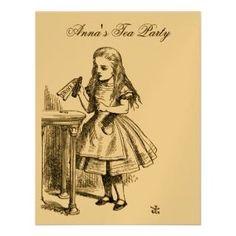 GOLD Alice in Wonderland Tea Party Birthday Invitation