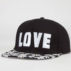 Daisy Love/Hate Womens Snapback Hat ($7.99) ❤ liked on Polyvore featuring accessories, hats, black, adjustable hats, snap back hats, bills hats, embroidery hats and adjustable snapback hats