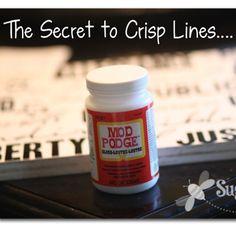 how to get crisp paint lines when using vinyl stickers.....Sugar Bee Crafts: Pledge Allegiance Sign