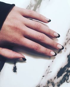 Pretty black and white nails. black French tips arrow nails. Grunge nails.