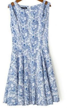 SUMMER NEW ARRIVAL FASHION LADIES' NECK TEMPERAMENT SHOULDER STRAPLESS BLUE AND WHITE PRINT DRESS BRAND QUALITY 1185