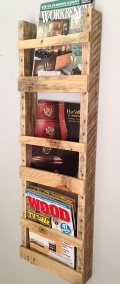 Handmade Wall Hanging Magazine Rack Reclaimed Pallet Wood Upcycled #Handmade