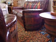 Vintage Wooden Barrel Western Furniture Set