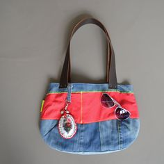 repurposed blue jeans tote   denim bag  leather by redstitchlab, €52.00