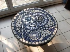 Table basse mosaïque bleue photo 1
