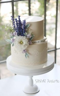 Lavander Flowers Wedding Cake by Sihirli Pastane - http://cakesdecor.com/cakes/282889-lavander-flowers-wedding-cake