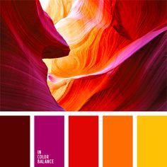 amarillo sol, amarillo y anaranjado, color amanecer, color desfiladero, color fucsia, color lila, color puesta del sol, colores del cañón de los Estados Unidos, combinación de colores para decorar interiores, escarlata, frambuesa, matices contrastantes del rojo, selección de colores
