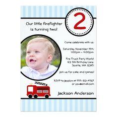 Trucks Birthday Party Invitations Fire Truck Stripes Photo Boy Birthday Party Card