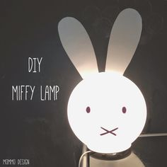 Materials: FADO lamp Very quick hack to make a Miffy lamp! Just cut out two large ears from a white cardboard and glue them on the Ikea Fado lamp. Then just draw two dots and a cross with a black sharpie. See more of the Miffy Lamp. MOLGER laundry hamper Knuff Dice Tower
