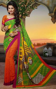 Picture of Classy Lime Green and Orange Color Saree