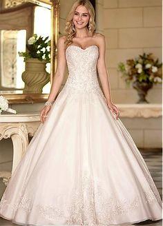 Fabuloso organza escote cintura natural de la bola vestido de novia