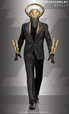 Apollo concept art from God Complex Character Concept, Character Art, Gijinka Pokemon, Arte Robot, Cyberpunk Character, Sci Fi Armor, Sci Fi Characters, Art Graphique, Shadowrun