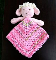 This adorable lamb lovey (also known as a security blanket, lovie or blanket) would be a perfect snuggle buddy for your little one. Materials Needed: - Worsted Weight Yarn (240 Yards for blanket and smaller amounts for lamb) - Scraps of lightweight yarn or floss for embroidered features - Crochet Hook Size G - Fiberfill - Tapestry Needle Yarn weight and gauge does not need to be exact, just adjust hook size for your chosen yarn. Blanket shown is 15 square. This listing is for a PDF PATTERN…