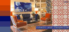 @C R Laine Furniture paired a Surya Goa rug with a cobalt blue sofa, watercolor artwork and coordinating orange chairs at @Daphne Holthuizen Brickhouse Point Market this year.