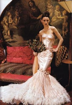 Jean Paul Gaultier haute couture, Spring 1999. Audrey Marnay photographed at the Ritz Hotel, Paris by Arthur Elgort for Vogue,  March 1999.