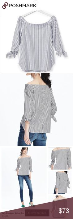 Off Shoulder Top by Banana Republic Head turner for this summer. Off shoulder striped top in blue/white, 100% cotton, detailed soft ties on cuffs by Banana Republic.   ✅Price is FIRM, even when bundled.  ✅Pls be mindful of Poshmark 20% fees ❌No trades Banana Republic Tops Blouses