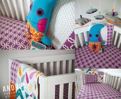 Little Lady Monster Crib, Turquoise Purple Orange