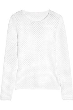 Open-knit cotton and wool-blend sweater