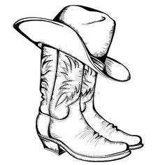 Cowboy boots and hat graphic illustration Stock Photo I want to decoupage this on A chest.                                                                                                                                                      Mais