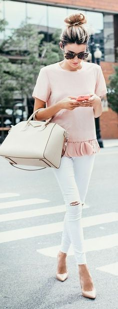 Pink Ruffled Top & White Distressed Jeans | Hello Fashion