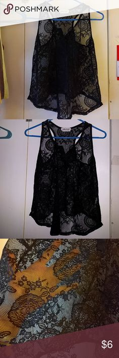 Billion plus all over floral lace tank This is a nice tank that you would wear a cami under or wear as a top to the beach. It's one size but would not likely fit a xsmall/small since it is on the shorter side.  Wore this maybe five times. No flaws.  Japanese tag billion  plus Tops Tank Tops