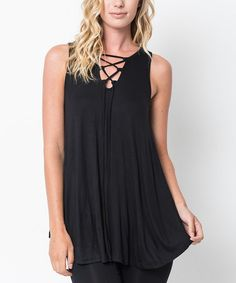 Love this Black Lace-Up Tunic - Women on #zulily! #zulilyfinds