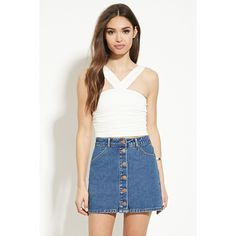 Forever 21 Women's  Buttoned Denim Skirt ($16) ❤ liked on Polyvore featuring skirts, mini skirts, button skirt, full length skirt, short denim skirts, forever 21 skirts and forever 21