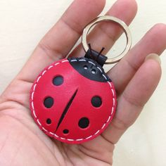 Leather Keychain - Penny the LadyBug Leather Charm ( Red )