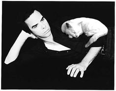 Nick Cave and a cat. I see nothing but goodness and quality in this image. get some yourself some pawtastic adorable cat apparel! Nick Cave, Celebrities With Cats, Men With Cats, Tv Movie, Cat Photography, Cat People, Crazy Cats, Cool Cats, Cat Lady