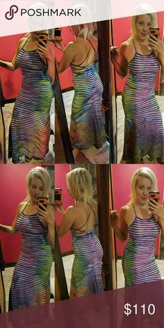 RAINBOW Backless Bodycon Mermaid Tail Dress Gown I took this very flattering fishtail bodycon dress and hand dyed it myself in this beautiful blend of rainbow colors. This is so unique that it really could be worn to a formal occasion such as a wedding or prom. Since made of such happy colors it can also be worn at a more casual setting but you might find yourself as the center of attention! The fabric has a lot of stretch to it and allows for various sizes due to the way the back lacing is…